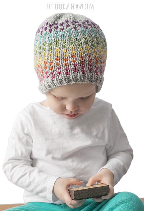 Rainbow Stripes Hat Knitting Pattern for newborns, babies & toddlers!