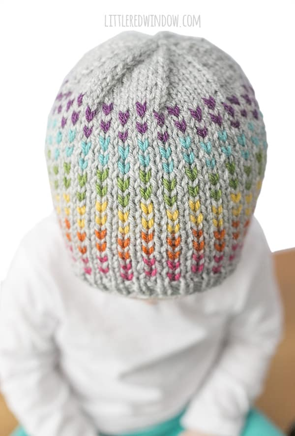 Rainbow Dots Hat Knitting Pattern for newborns, babies & toddlers!