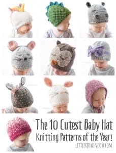 The 10 Cutest Baby Hat Knitting Patterns of the Year! | littleredwindow.com