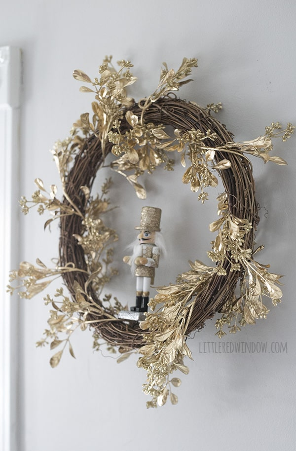 Nutcracker Christmas Wreath, sparkly and perfect for the holiday season! | littleredwindow.com