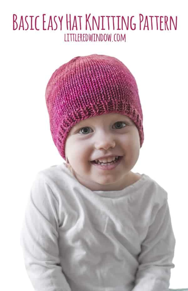 01310606a94 Basic Easy Baby Hat Knitting Pattern - Little Red Window