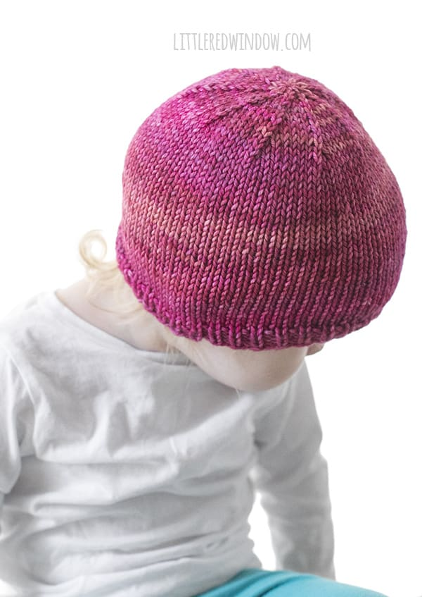 Basic Easy Baby Hat Knitting Pattern in sizes from newborn to 2T+ this hat pattern has been test hundreds of times, it's the perfect basic baby hat! | littleredwindow.com