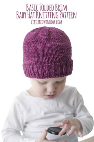 Easy Folded Brim Hat Knitting Pattern