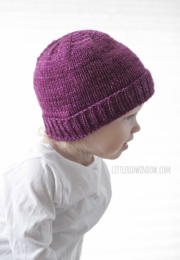 Easy Folded Brim Hat Knitting Pattern Little Red Window