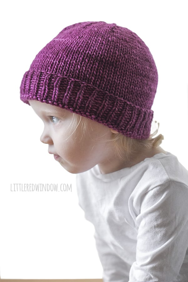 Basic Folded Brim Baby Hat Knitting Pattern, perfect for newborns, babies & toddlers! | littleredwindow.com