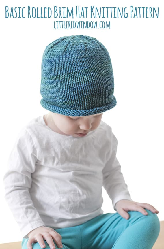 Basic Rolled Brim Baby Hat Knitting Pattern Little Red Window