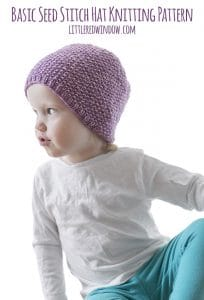 Basic Seed Stitch Hat Knitting Pattern for newborns, babies and toddlers! | littleredwindow.com