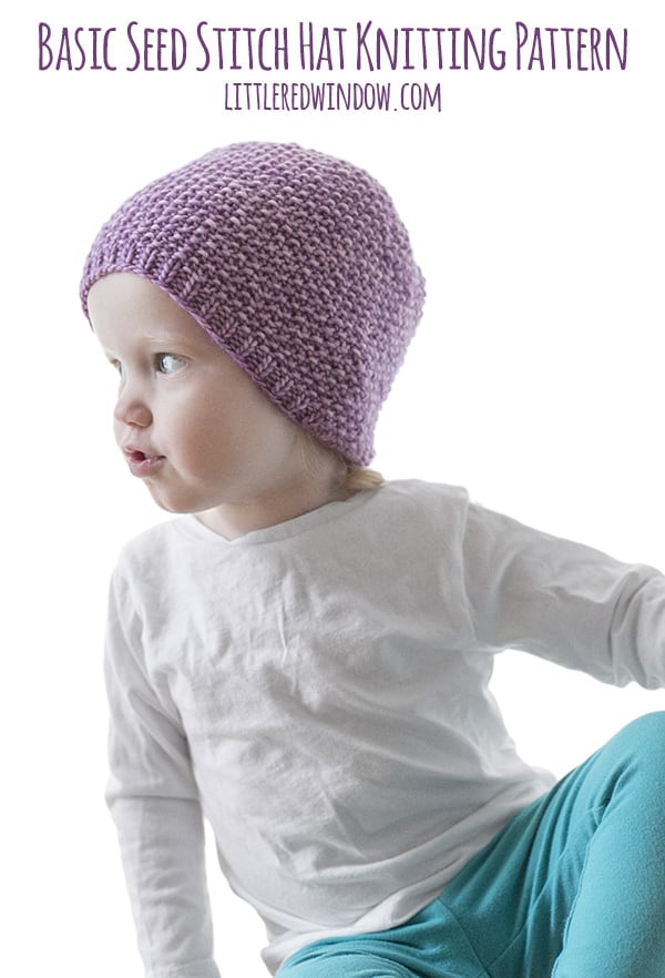 c8095e720 Easy Seed Stitch Baby Hat Knitting Pattern - Little Red Window