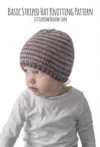 Basic Striped Hat Knitting Pattern for your favorite newborn, baby or toddler! | littleredwindow.com