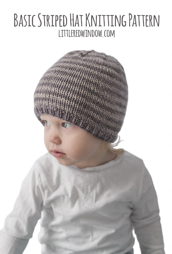 Easy Striped Hat Knitting Pattern for your favorite newborn, baby or toddler! | littleredwindow.com