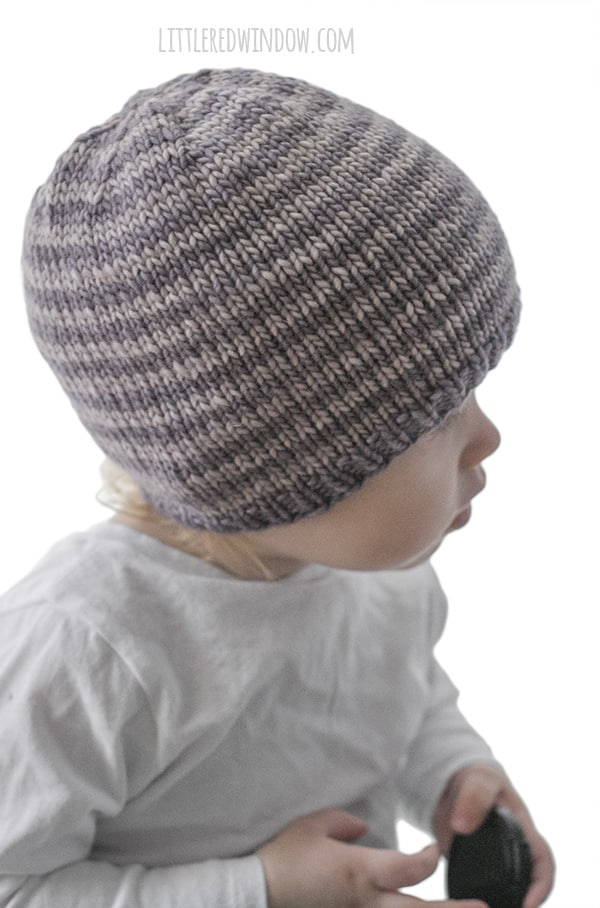 Easy Striped Baby Hat Knitting Pattern - Little Red Window