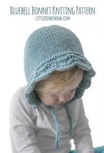 Baby Bluebell Bonnet Knitting Pattern for newborns, babies and toddlers! | littleredwindow.com
