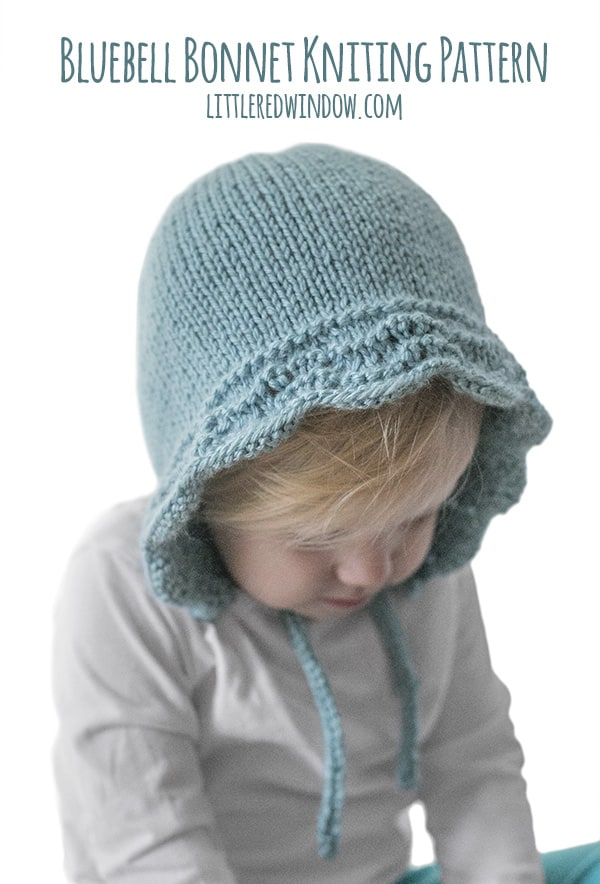Bluebell Baby Bonnet Knitting Pattern for newborns, babies and toddlers! | littleredwindow.com