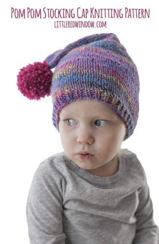 Easy Pom Pom Stocking Cap Knitting Pattern