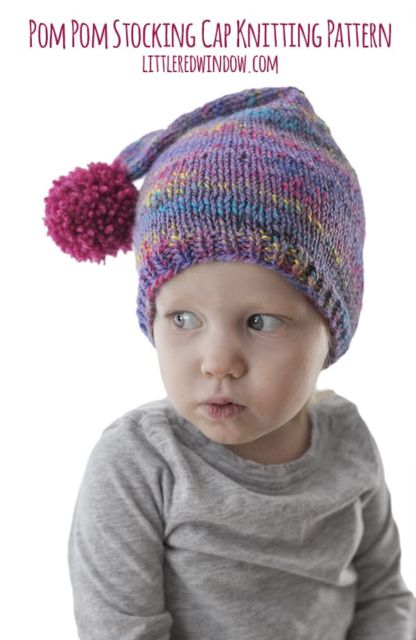 Easy Pom Pom Stocking Cap Knitting Pattern - Little Red Window