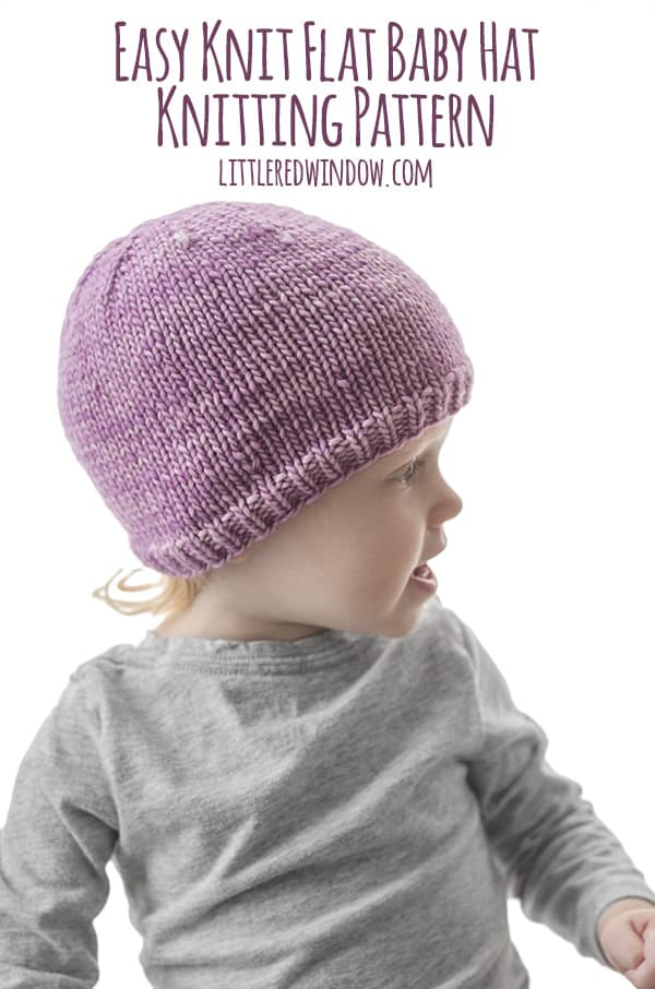 564a5fdfe50 Easy Knit Flat Baby Hat Knitting Pattern - Little Red Window