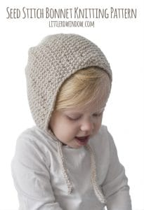 Seed Stitch Bonnet Knitting Pattern for babies and toddlers! | littleredwindow.com