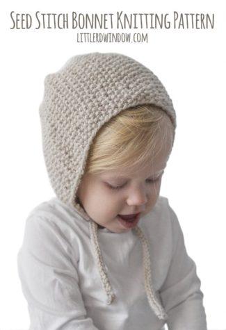 Seed Stitch Bonnet Knitting Pattern