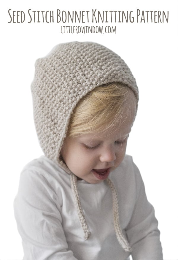 Seed Stitch Bonnet Knitting Pattern for babies and toddlers!  0b003af06dc