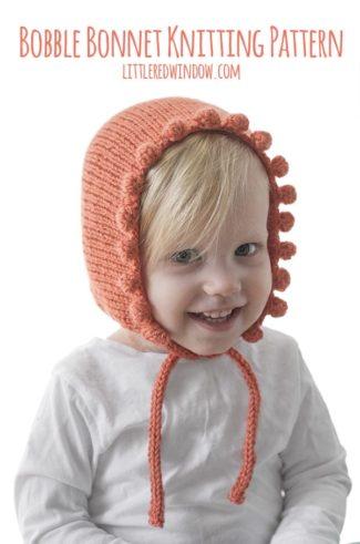 Baby Bobble Bonnet Knitting Pattern for your newborn, baby or toddler! | littleredwindow.com