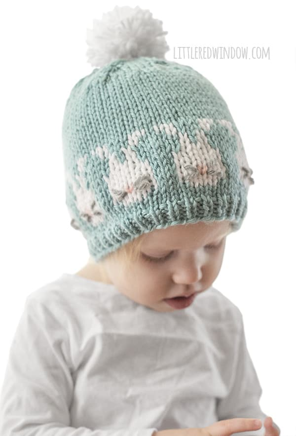 Easter Bunnies Hat Knitting Pattern, perfect for your baby or toddler this Spring! | littleredwindow.com
