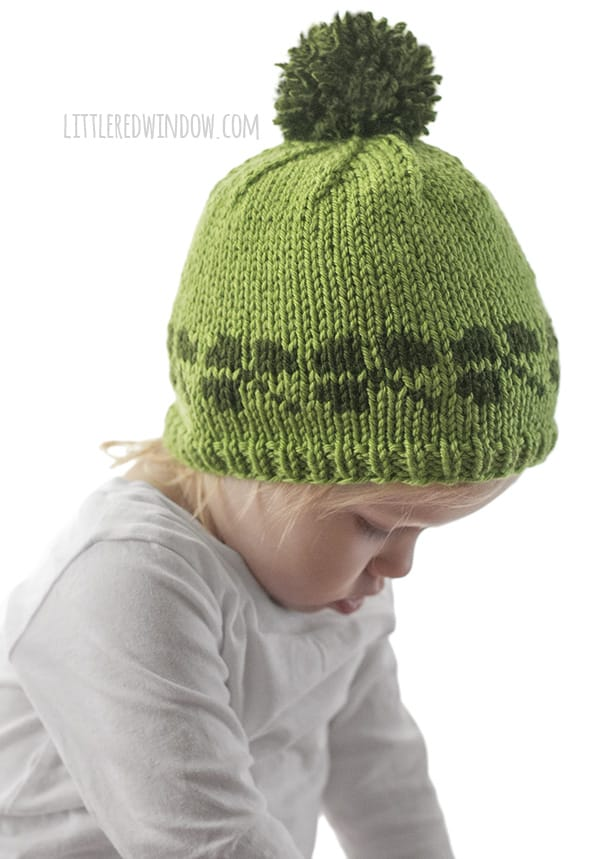 Lucky Shamrock Hat Knitting Pattern, perfect for St. Patrick's day for your baby or toddler! | littleredwindow.com