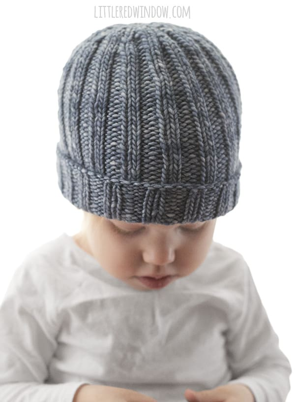Easy Ribbed Hat Knitting Patterns for babies and toddlers! | littleredwindow.com