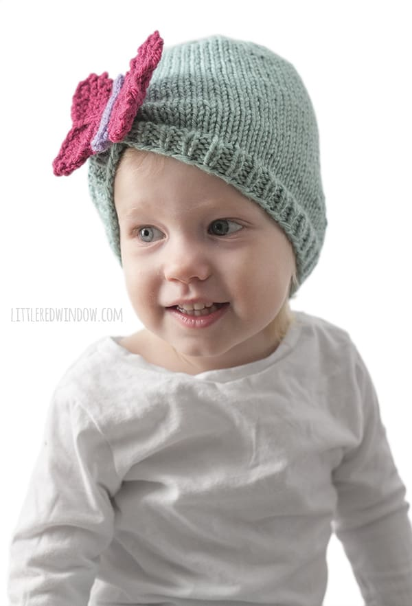 Beautiful Butterfly Hat Knitting Pattern for newborns, babies and toddlers! | littleredwindow.com