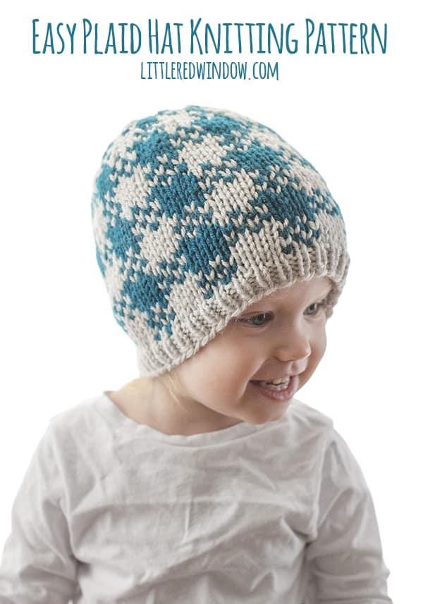 Easy Plaid Hat Knitting Pattern
