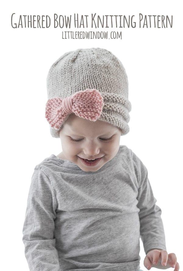 Gathered Bow Hat Knitting Pattern