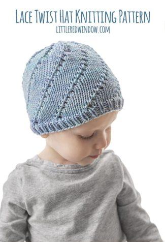 Lace Twist Hat Knitting Pattern