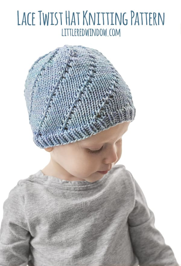 Lace Twist Hat Knitting Pattern for newborns, babies and toddlers! This pretty twisting lace pattern is easy to knit! | littleredwindow.com