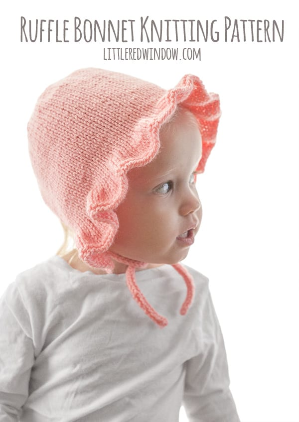 Ruffle Bonnet Knitting Pattern for babies & toddlers! | littleredwindow.com