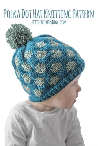 Polka Dot Hat Knitting Pattern