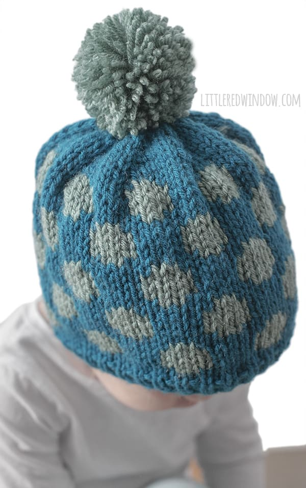 Polka Dot Hat Knitting Pattern for newborns, babies and toddlers! | littleredwindow.com