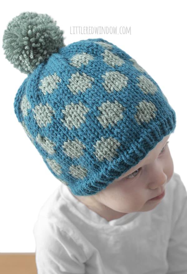 Polka Dot Hat Knitting Pattern for newborns, babies and toddlers!   littleredwindow.com
