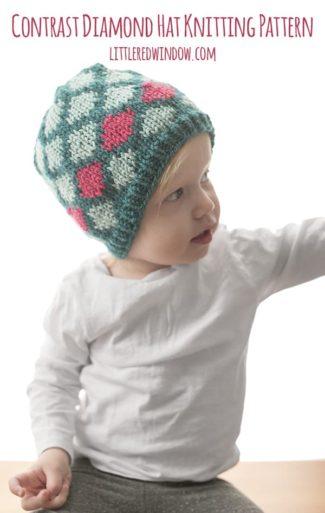 Contrast Diamond Hat Knitting Pattern