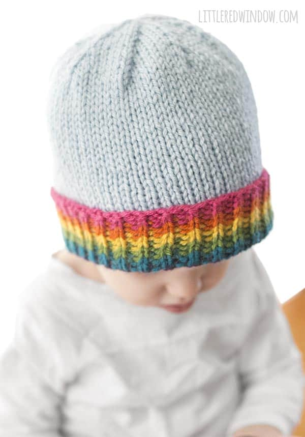 Lovely bright colors in the brim of the Rainbow Brim Hat knitting pattern!
