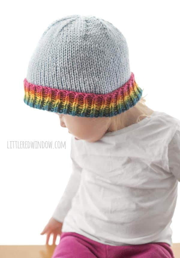 Adorable Rainbow Brim Hat knitting pattern!