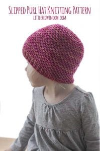 Slipped Purl Hat Knitting Pattern for newborns, babies and toddlers! | littleredwindow.com