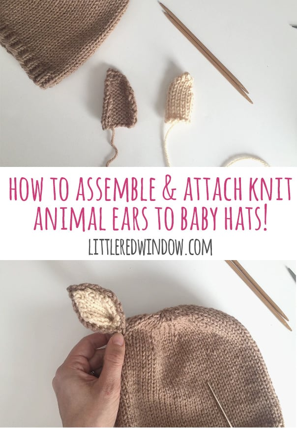 How to Assemble and Attach Animal Ears to Baby Hats - this step by step tutorial will show you how to finish any adorable baby animal hat knitting pattern! | littleredwindow.com