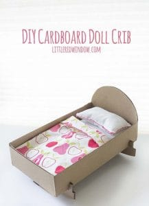 DIY Doll Crib from a cardboard box! This quick and easy craft will be a hit with your little one!