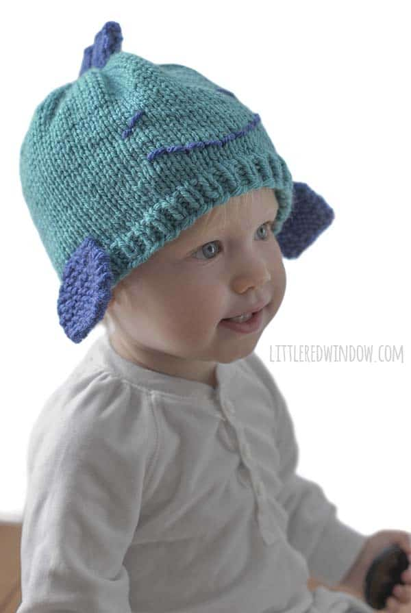 Small Fry Fish Hat Knitting Pattern for newborns, babies and toddlers! | littleredwindow.com