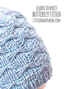 Learn how to knit the butterfly stitch with this step by step tutorial! | littleredwindow.com
