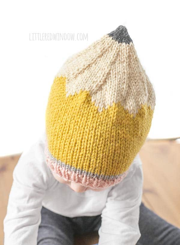 Back to School Pencil Hat Knitting Pattern for newborns, babies and toddlers! | littleredwindow.com