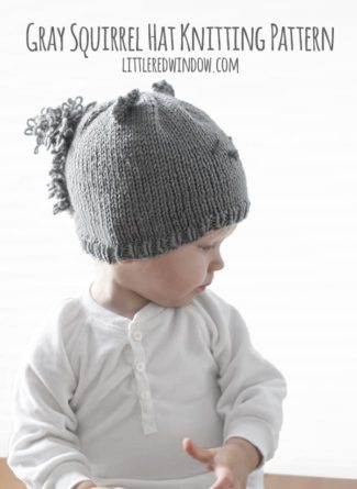 Gray Squirrel Hat Knitting Pattern