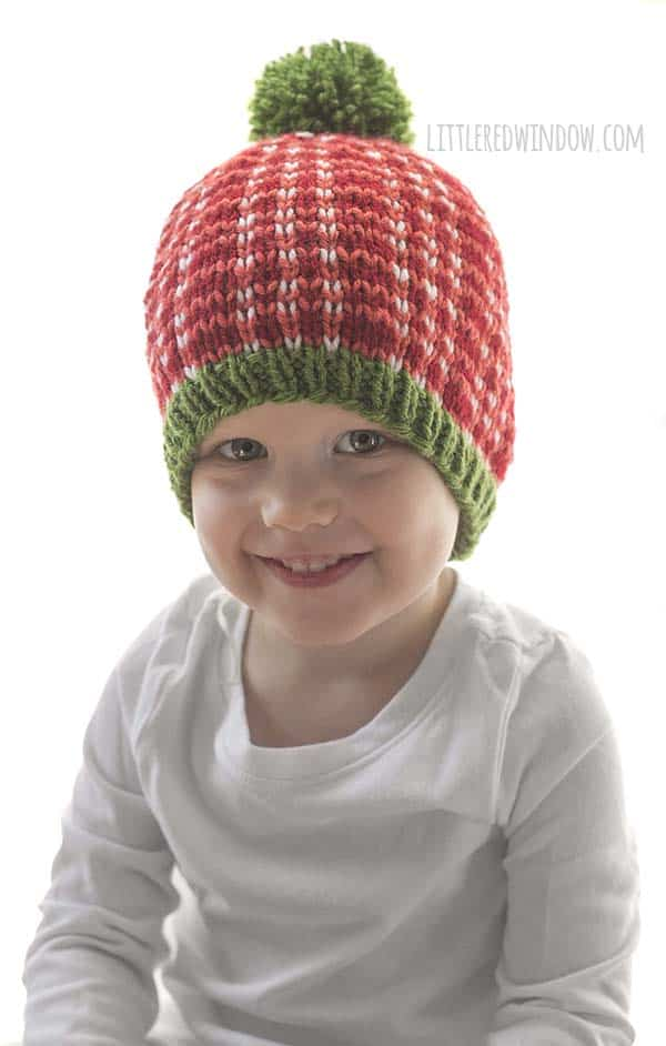 Cute trio of Christmas Plaid Hat knitting patterns, these adorable plaid hats in bright holiday colors make great gifts and will look so cute in photos!