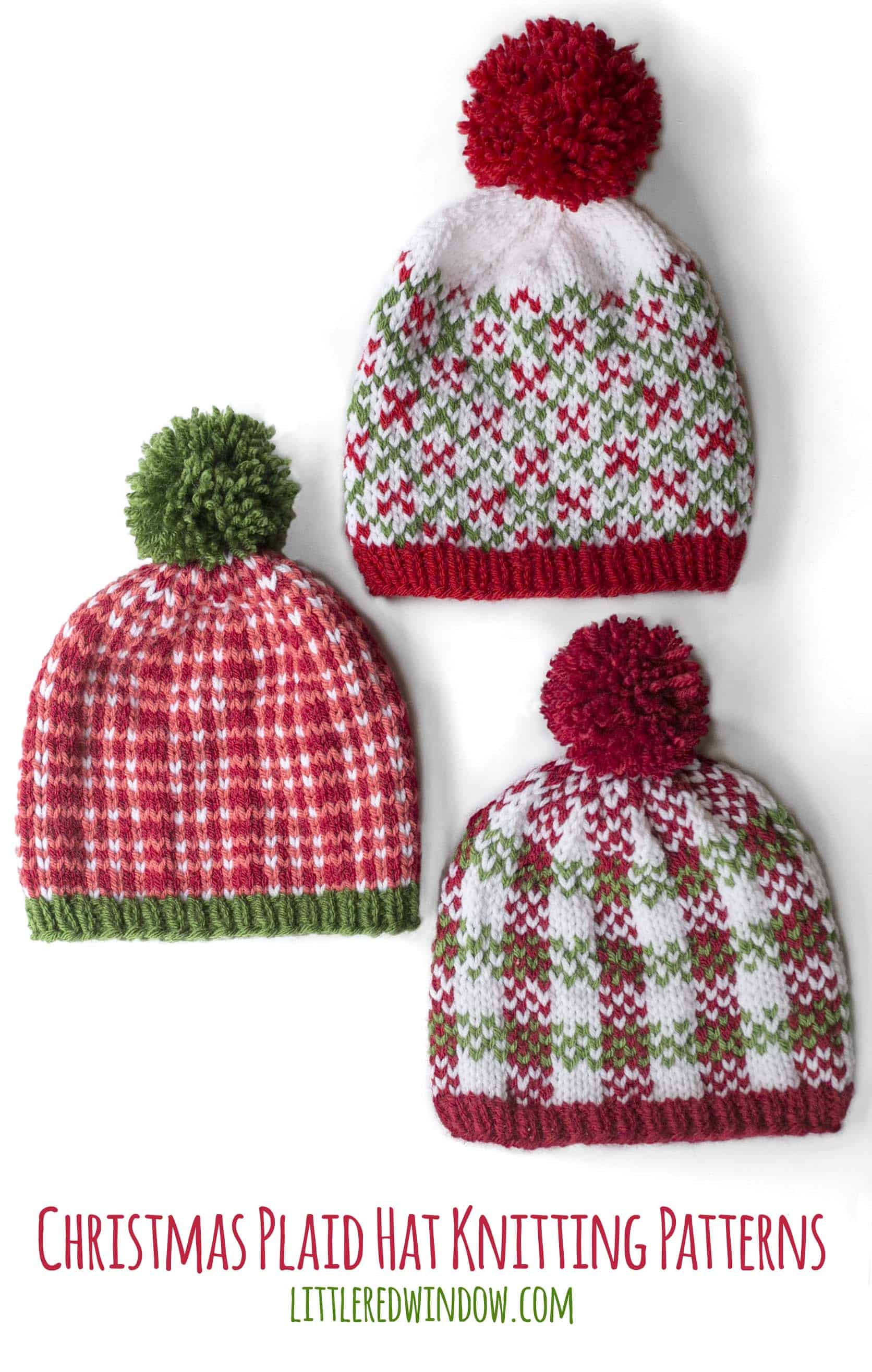 Christmas Plaid Hat Knitting Pattern Bundle, this cute trio of baby hat patterns is perfect for your holiday knitting!