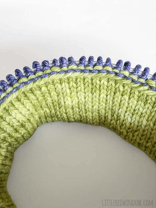Double Brim Hat knitting pattern process photo