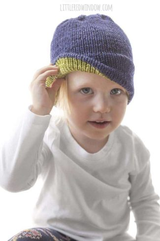 Extra Warm and Cozy Double Brim Hat Knitting Pattern, this cute pattern has a double thickness brim with fun contrast color inside to keep your little one extra toasty this winter!